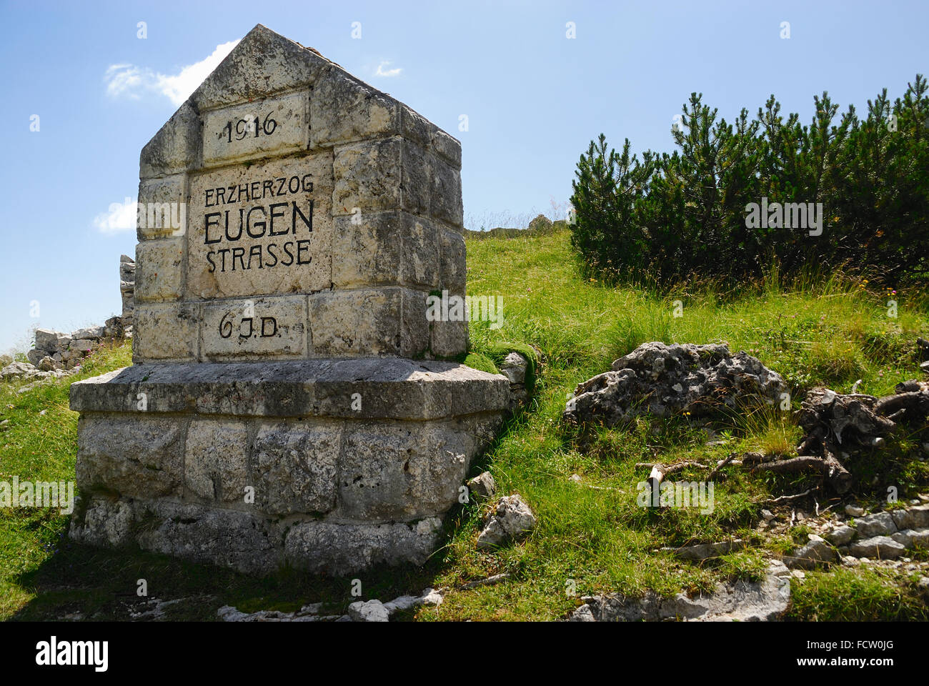 WWI, Asiago Plateau. The milestone of the  the  Erzherzog Eugen Strasse. The Erzherzog Eugen Strasse is a drive - Stock Image