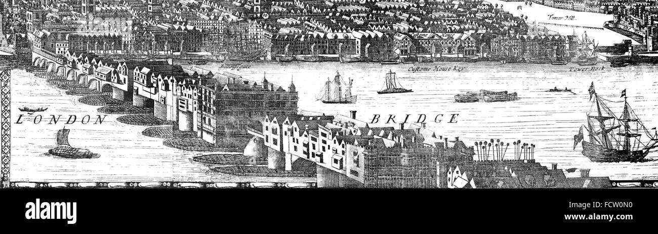 OLD LONDON BRIDGE from a 1682 panorama engraving - Stock Image