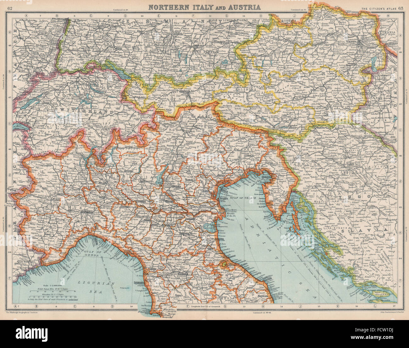 Map Of Northern Italy And Austria.North Italy Austria Italian Istria Zara Zadar Free State Of