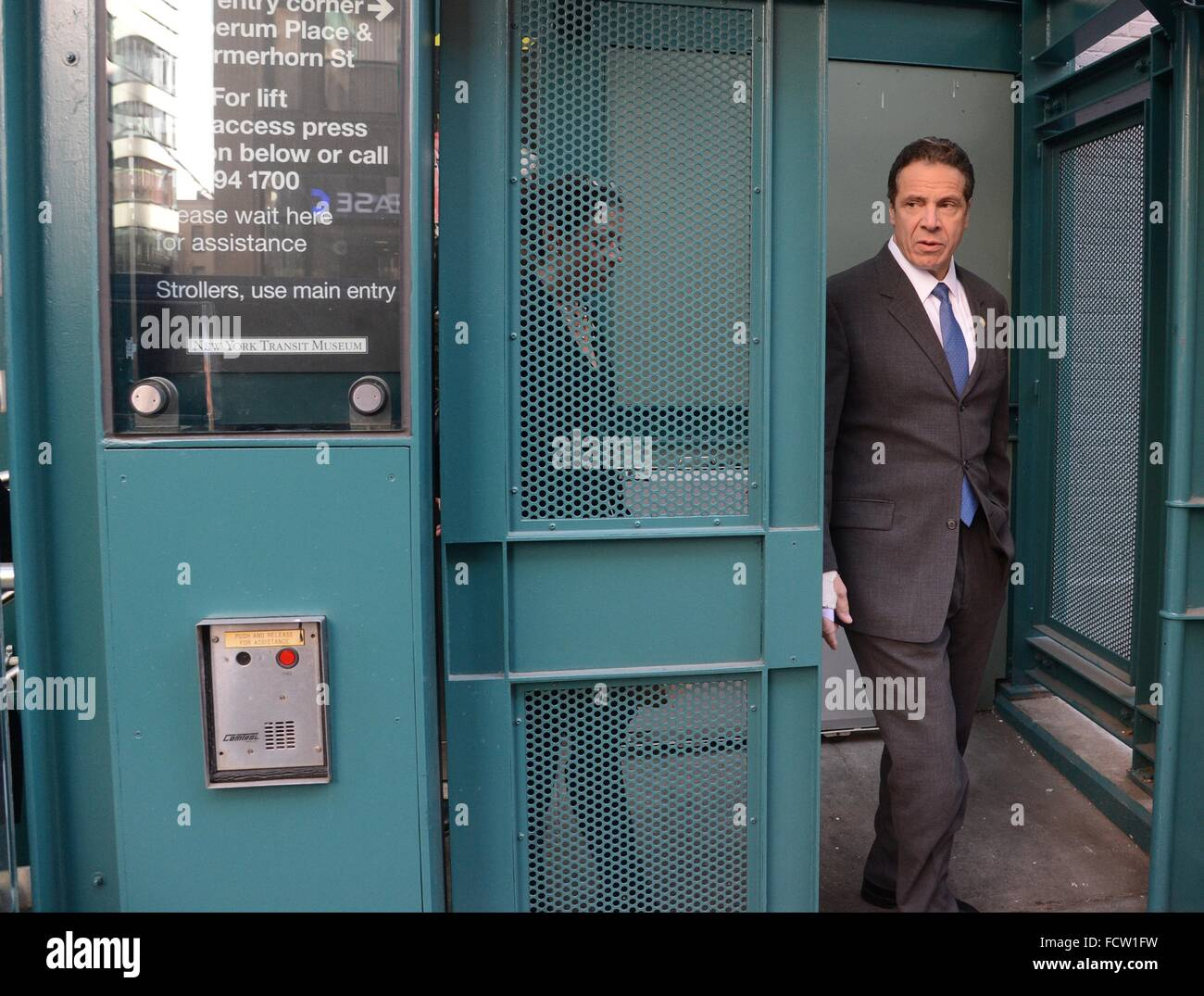 New York Governor Andrew Cuomo exits a subway elevator during a visit to the New York Transit Museum January 8, - Stock Image