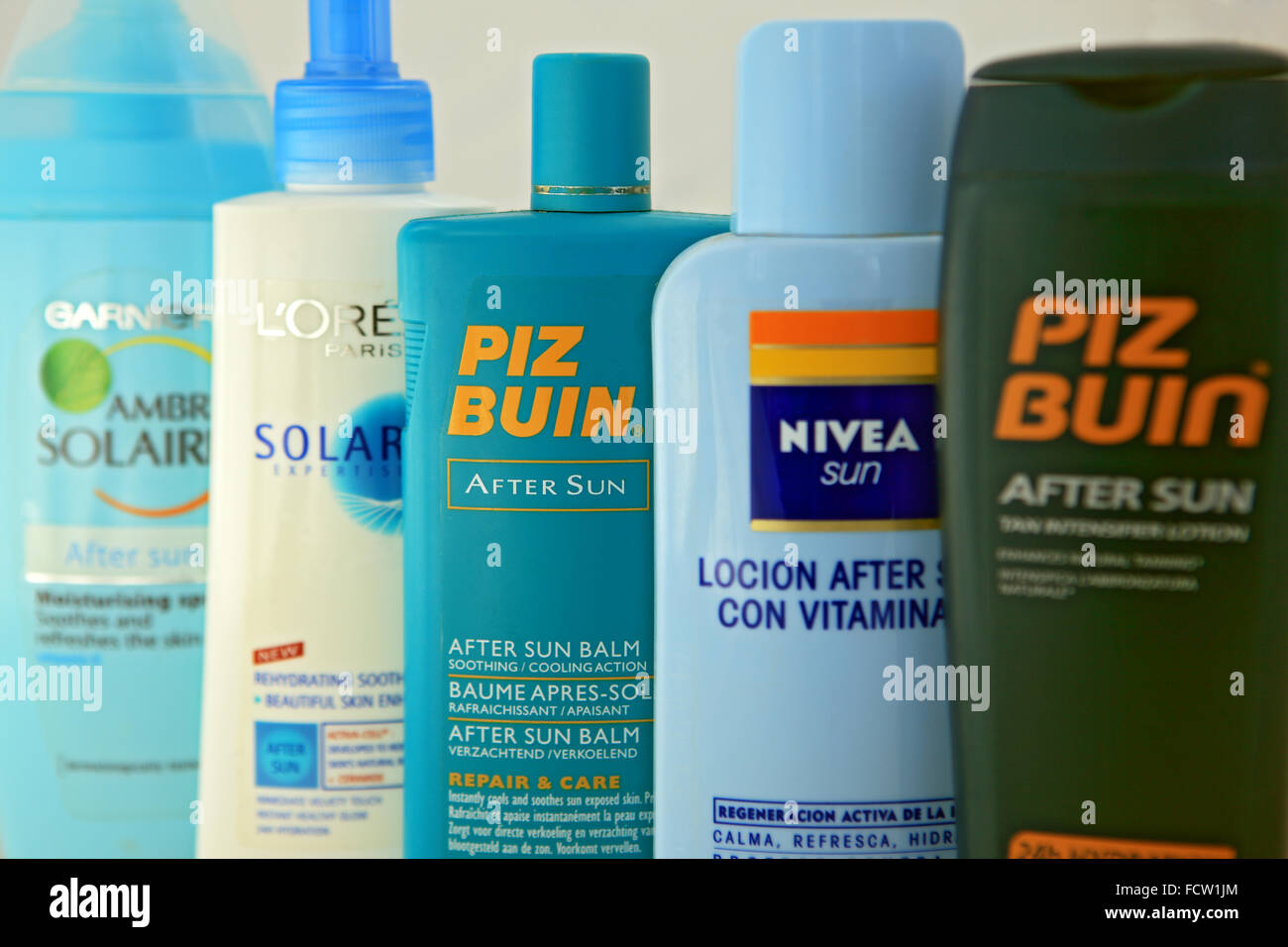 Bottles of After Sun - Stock Image
