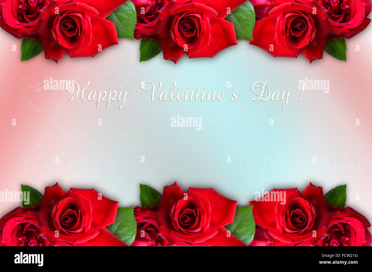 Parallel Borders Of Red Roses Together With Happy Valentine S Day