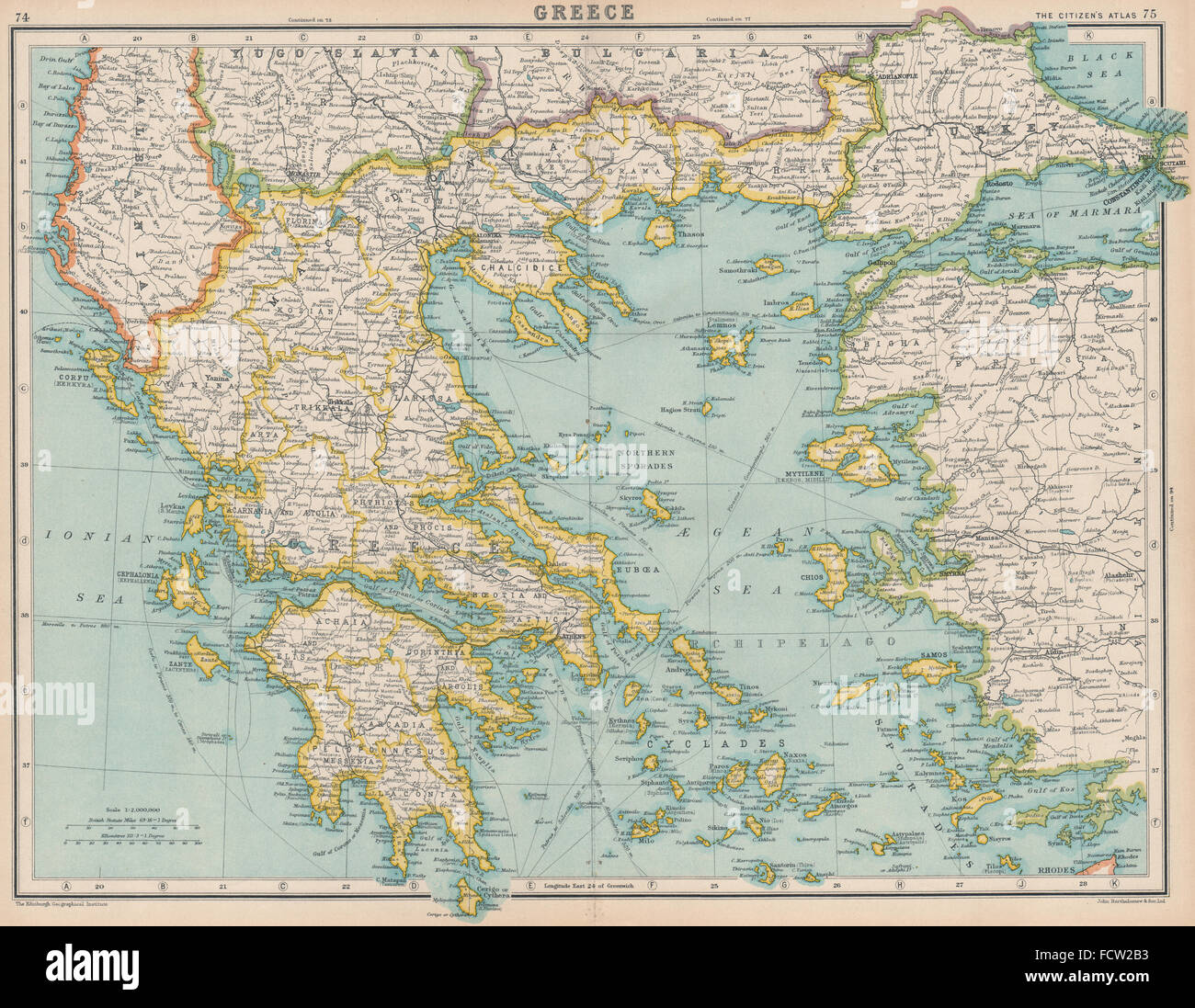 GREECE: and the Aegean islands. BARTHOLOMEW, 1924 vintage map Stock ...