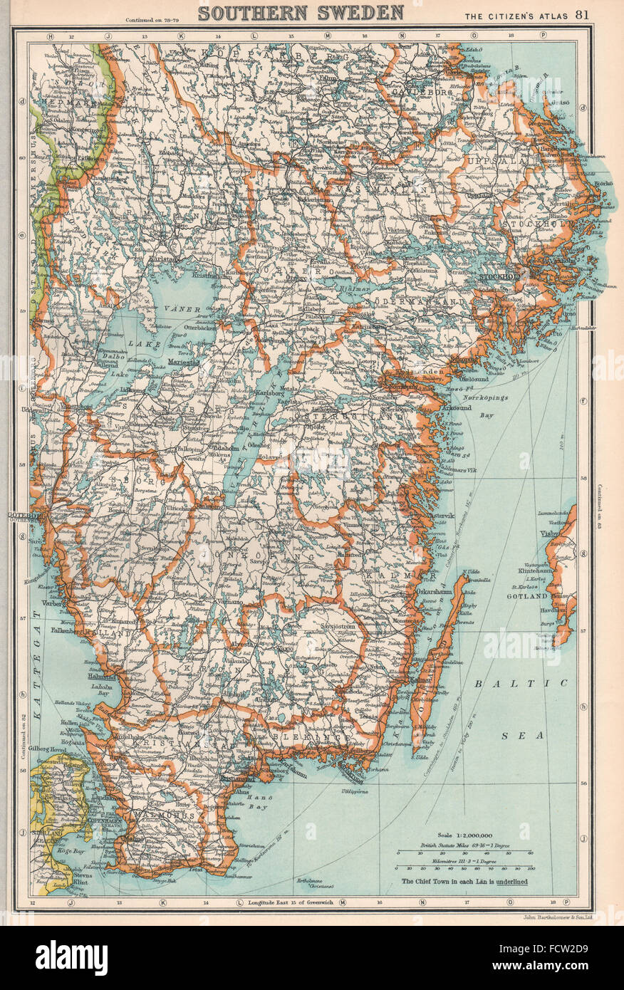 Sweden maps stock photos sweden maps stock images alamy sweden southern sweden bartholomew 1924 vintage map stock image gumiabroncs Choice Image