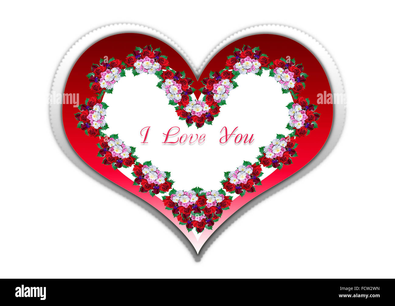 Shiny red frame heart with bouquets and red I Love You Stock Photo ...