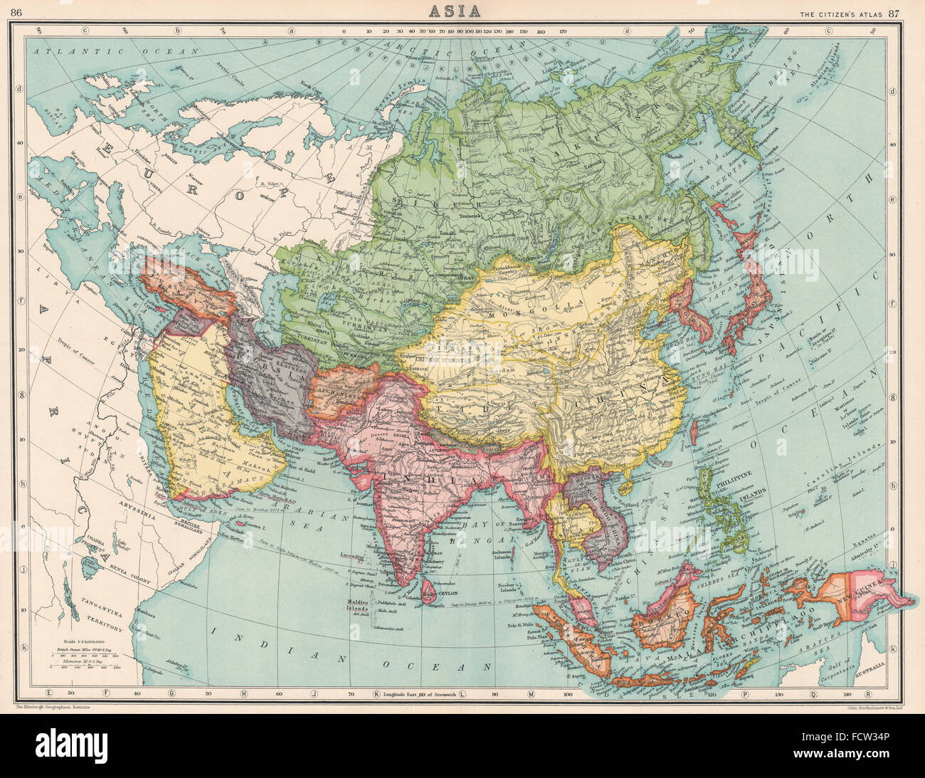 Map of british india stock photos map of british india stock asia british india japanese occupied korea syria lebanon unified 1924 gumiabroncs Image collections
