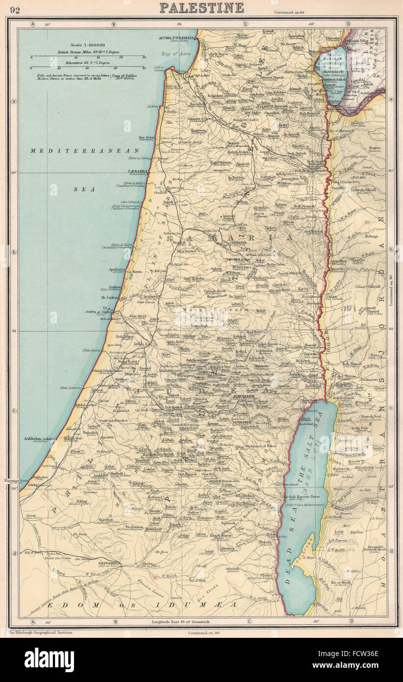 PALESTINE:Galilee Judaea Samaria Philistia.Biblical & modern placenames 1924 map - Stock Image