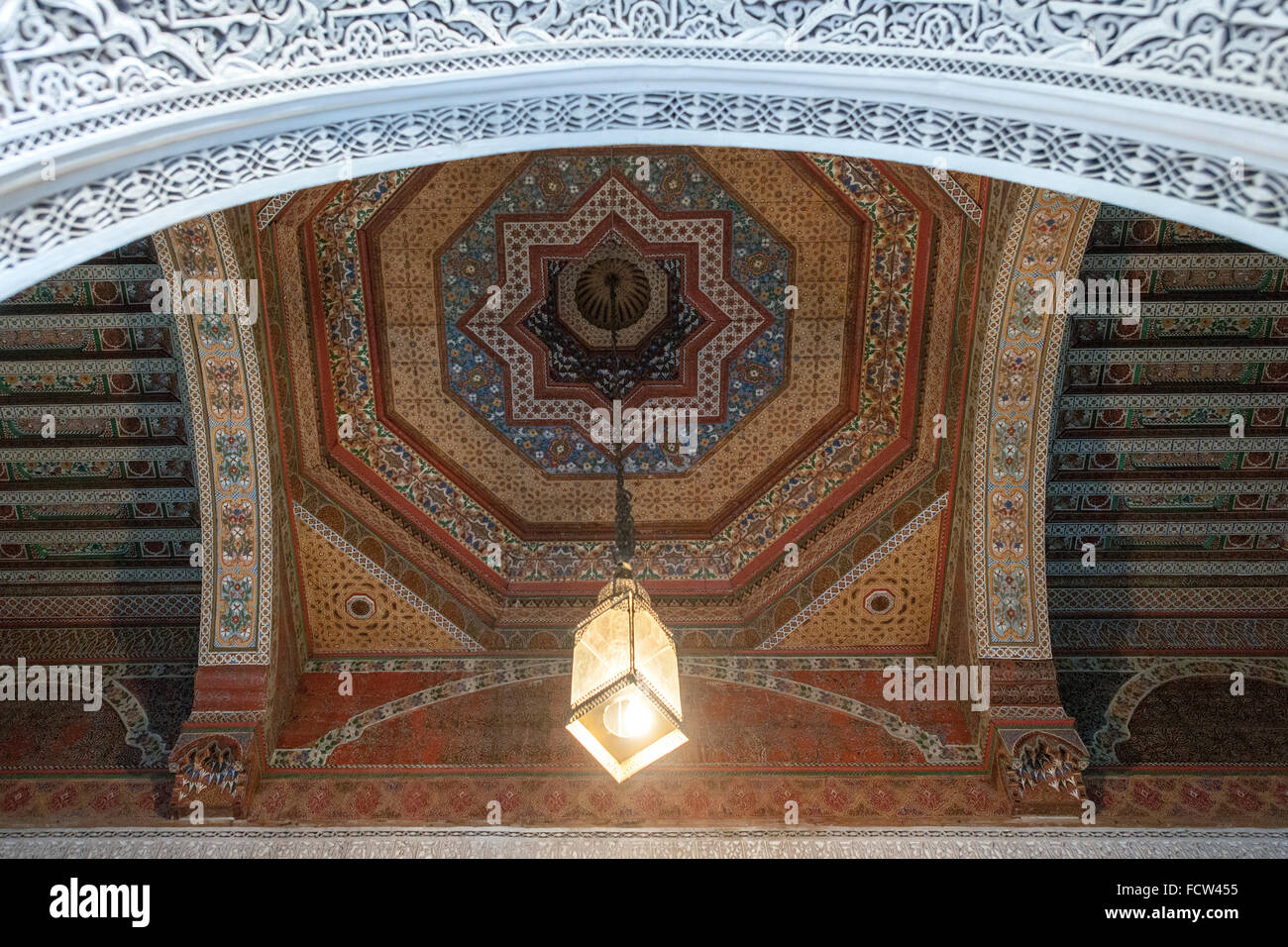 Ceiling in one of the rooms of the Bahia Palace in Marrakech, Morocco. - Stock Image