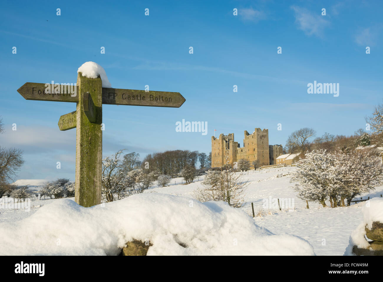 Footpath sign to Castle to Castle Bolton in Wensleydale in the snow - Stock Image