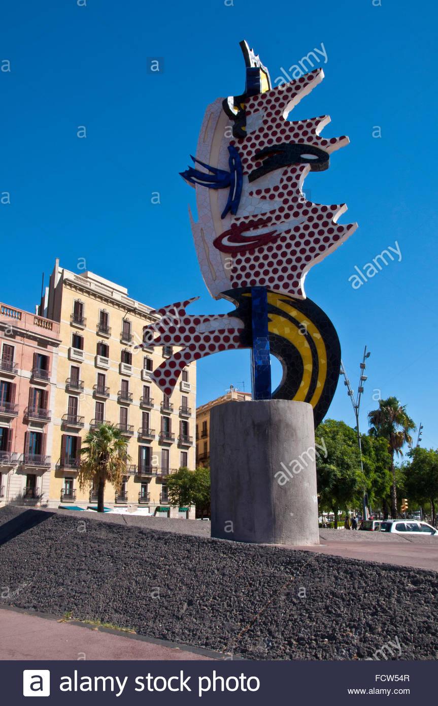 Barcelona's Head, Roy Lichtenstein artist, Barcelona, Ciutat Vella, Spain - Stock Image