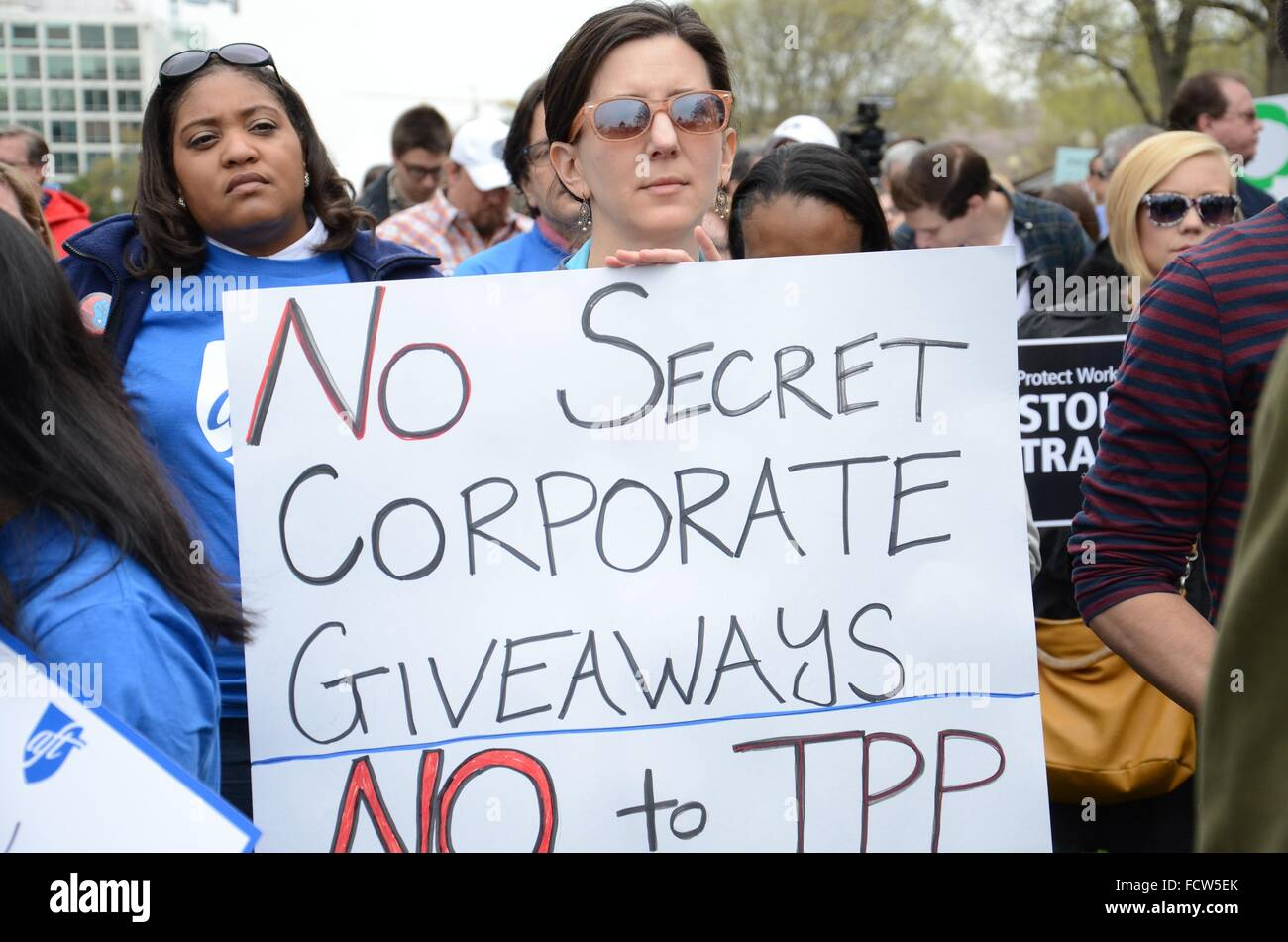 Labor union members protest agains the Trans-Pacific Partnership outside the U.S. Capitol April 15, 2015 in Washington, - Stock Image