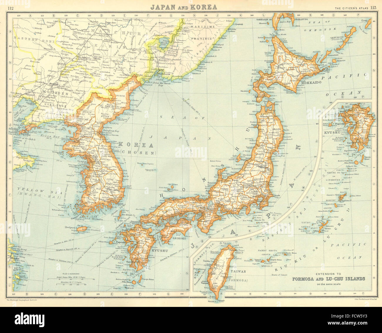 Japanese world map stock photos japanese world map stock images japanese empire japan its possessions incl korea formosa taiwan 1924 map gumiabroncs Gallery