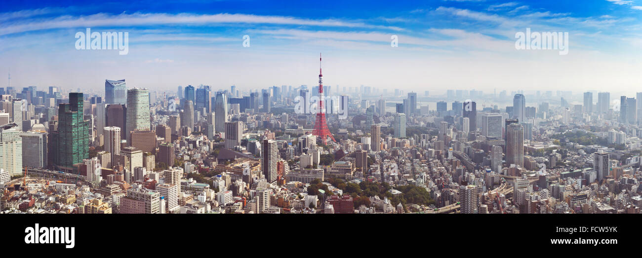 The skyline of Tokyo, Japan with the Tokyo Tower photographed from above. Stock Photo