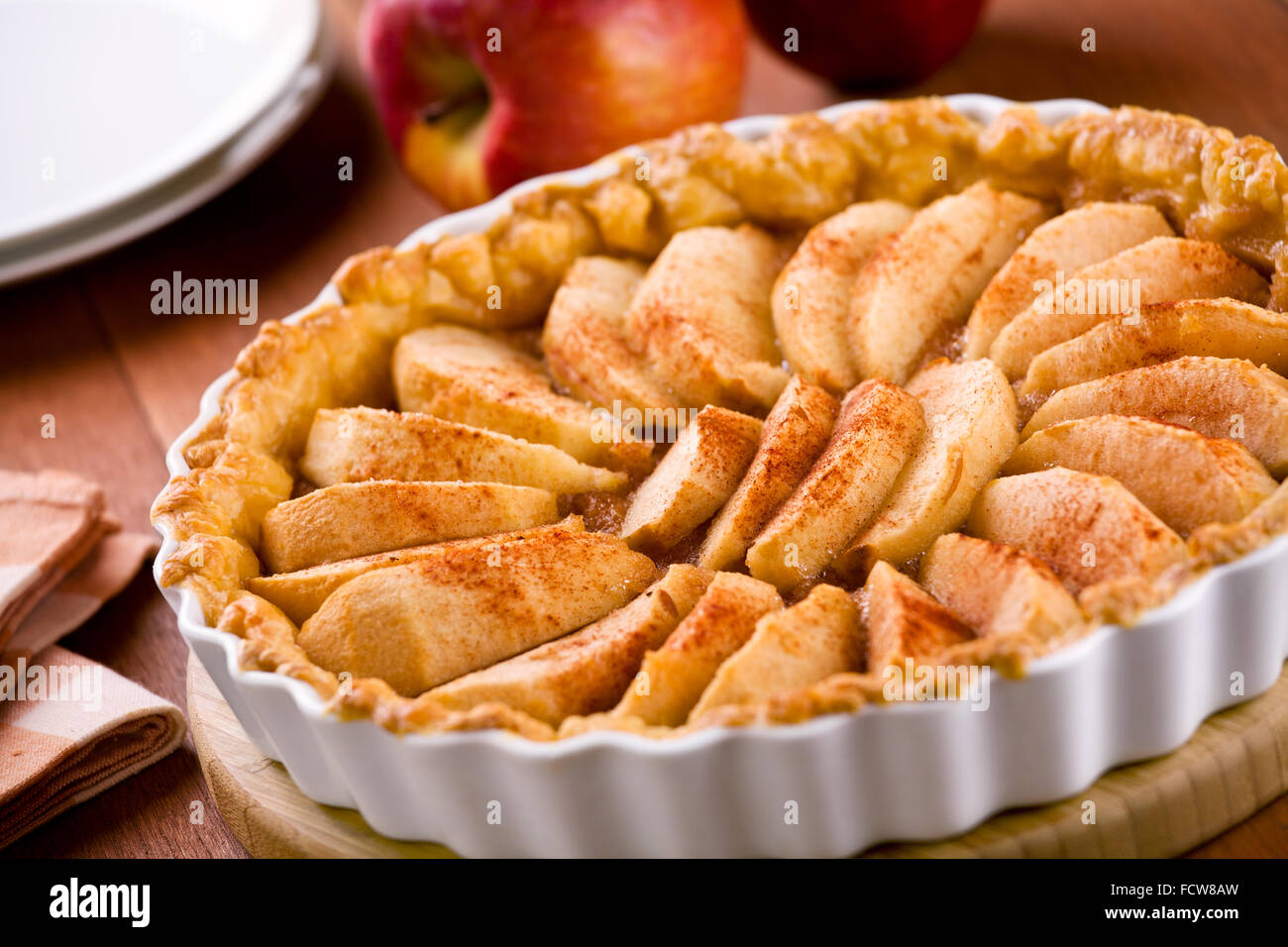 Close up of a tasty homemade apple pie - Stock Image