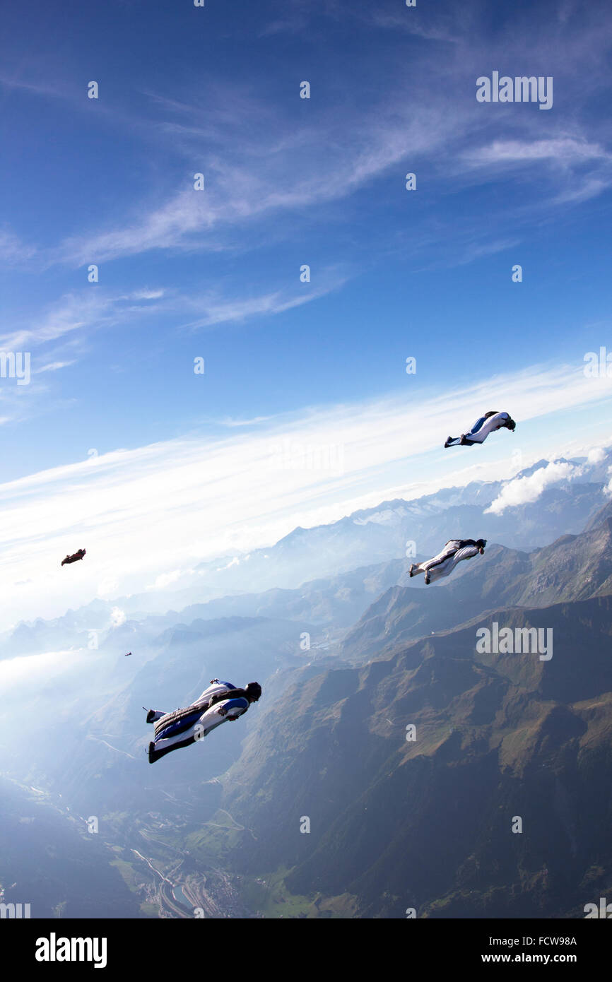 Wingsuit pilots are flying in a group together. The leader in the white suit is flying ahead and guiding them over - Stock Image