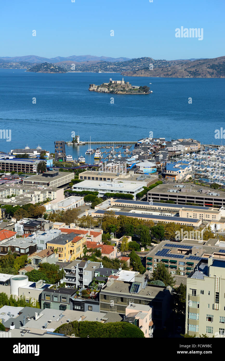Elevated view of Marina and Alcatraz Island from Coit Tower on Telegraph Hill, San Francisco, California, USA Stock Photo