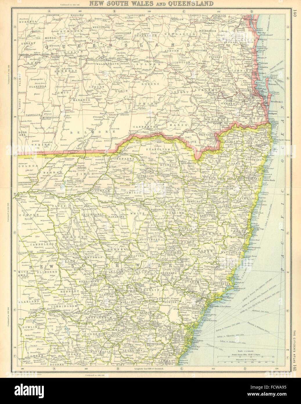 australia east coast new south wales and queensland sydney brisbane 1924 map