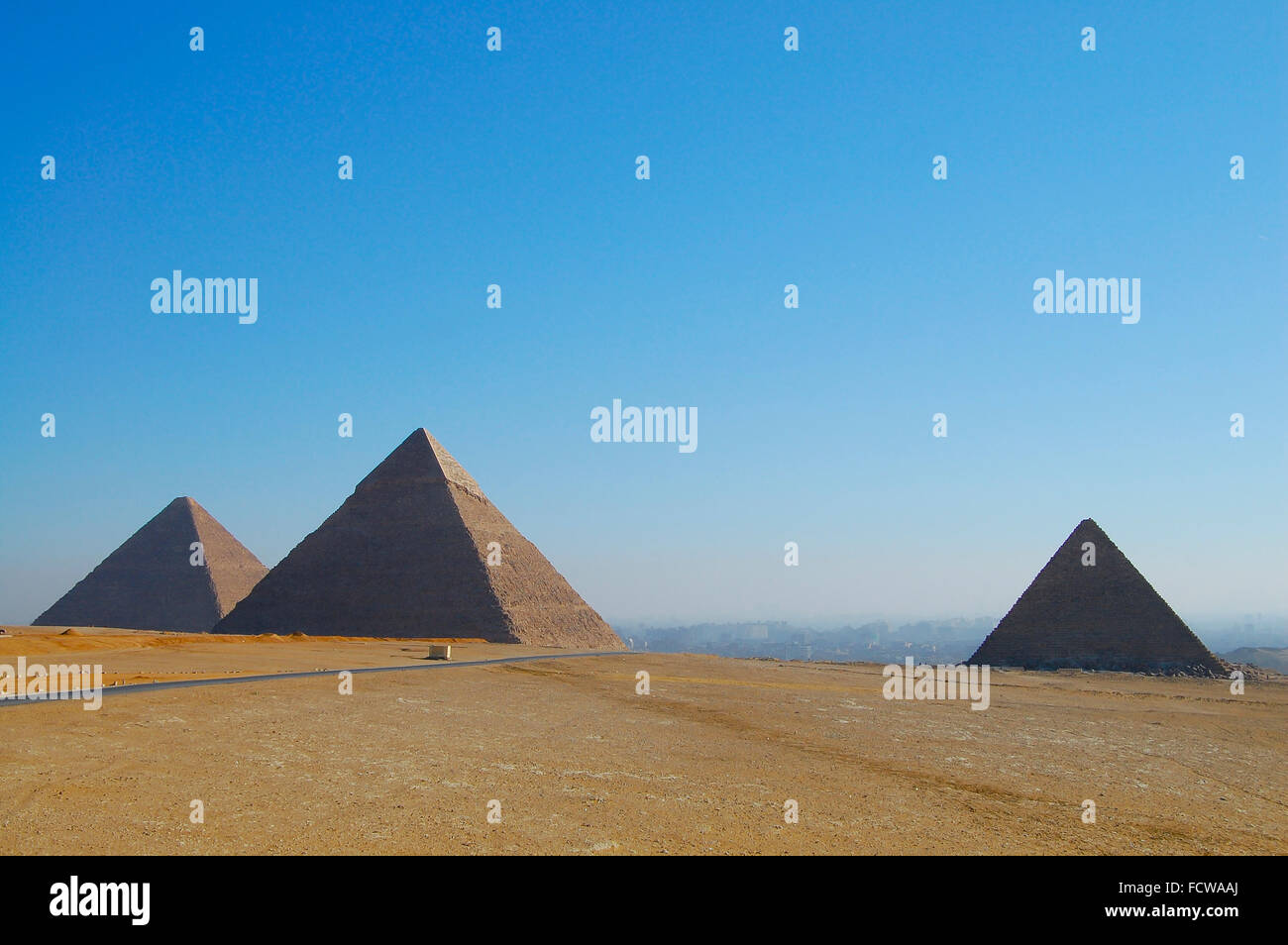 Giza Pyramids - Cairo - Egypt - Stock Image