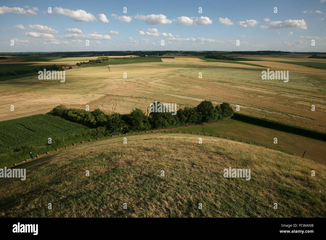 Battlefield of the Battle of Waterloo (1815) near Brussels, Belgium, pictured from the top of the Lion's Mound. - Stock Image