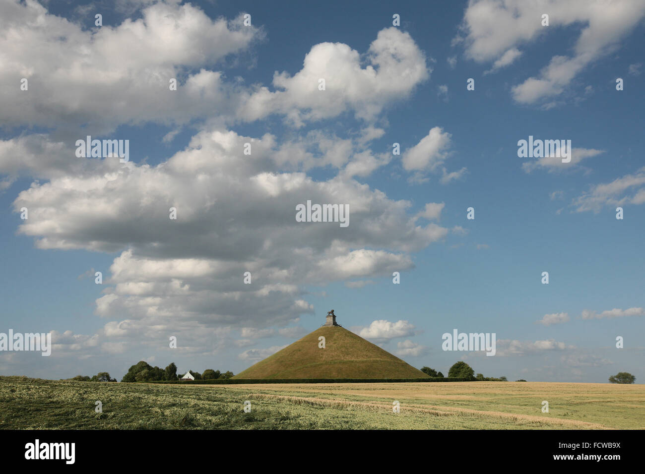 Lion's Mound over the battlefield of the Battle of Waterloo (1815) near Brussels, Belgium. - Stock Image