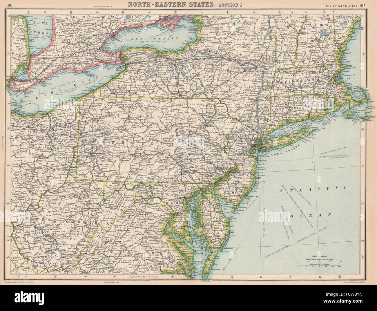 USA: North-Eastern States. BARTHOLOMEW, 1924 vintage map Stock Photo ...