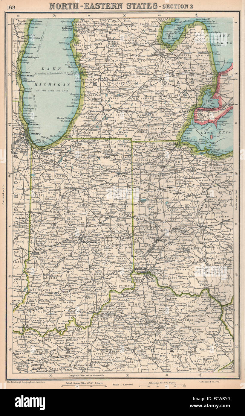 Midwest Usa Indiana Michigan Ohio Bartholomew 1924 Vintage Map