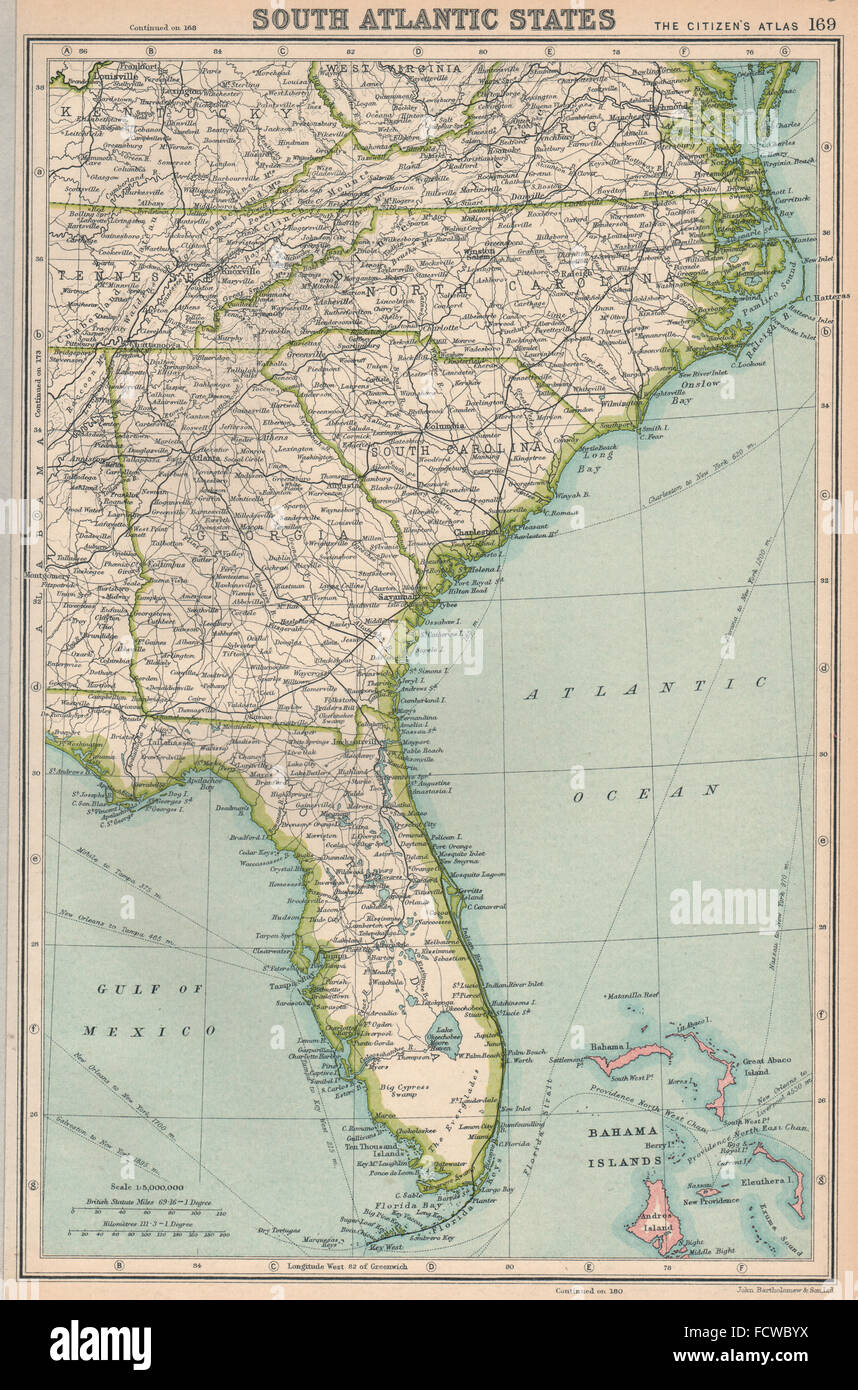 Map Of South Georgia And North Florida.Southeastern Usa Florida Georgia North South Carolina Stock Photo