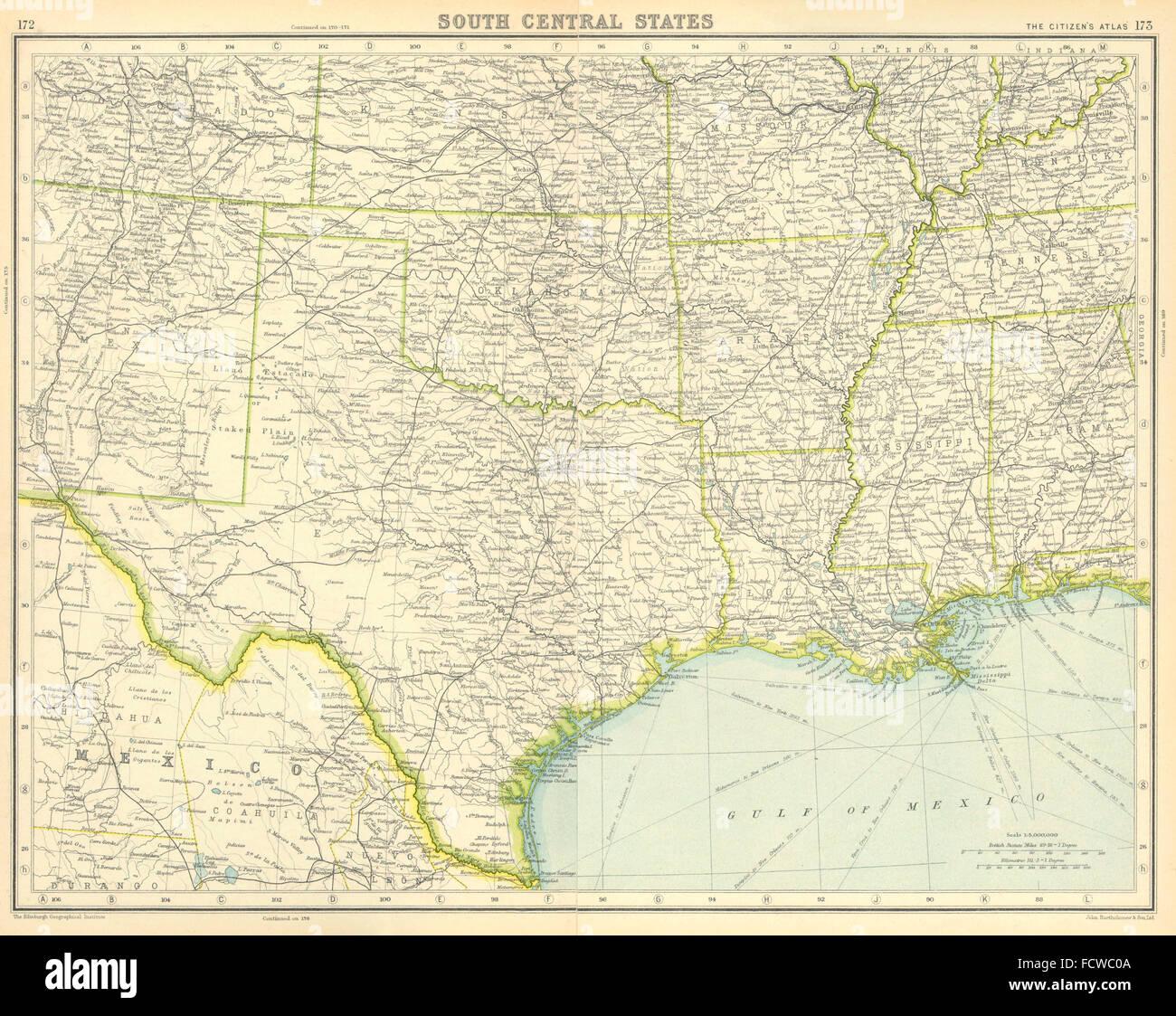 Map Of Texas Louisiana.Usa South Texas Louisiana Oklahoma Arkansas Mississippi Stock Photo
