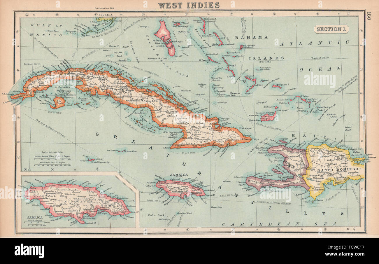 Vintage map of jamaica stock photos vintage map of jamaica stock west indies cuba jamaica bahamas hispaniola bartholomew 1924 vintage map stock image gumiabroncs Images
