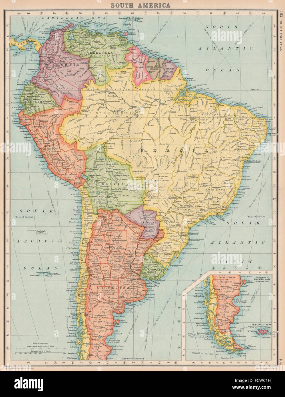 South America Political Bartholomew 1924 Vintage Map Stock Photo