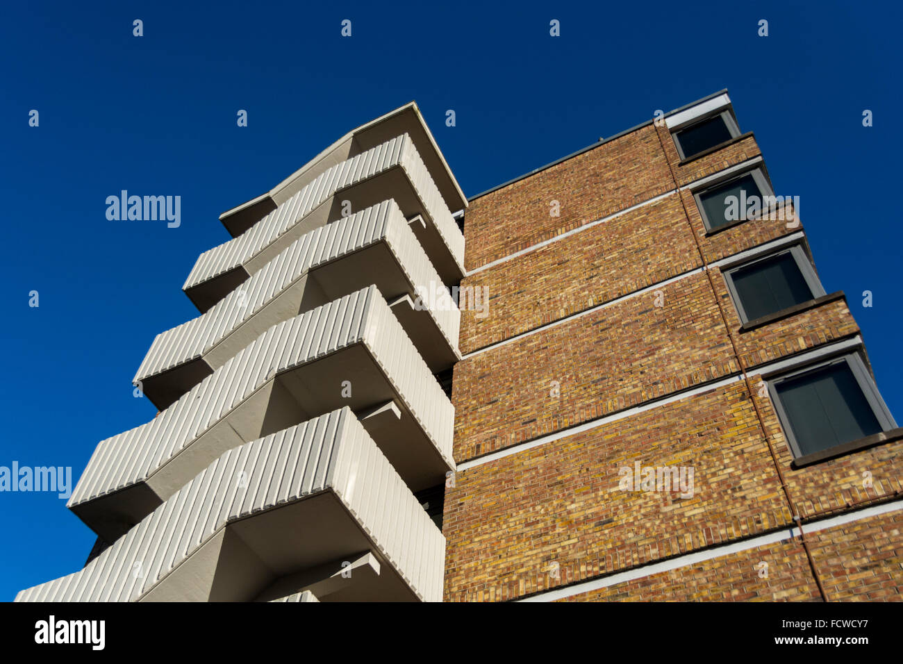 Exterior Staircase On Modern Block Of Flats In Central Bristol.