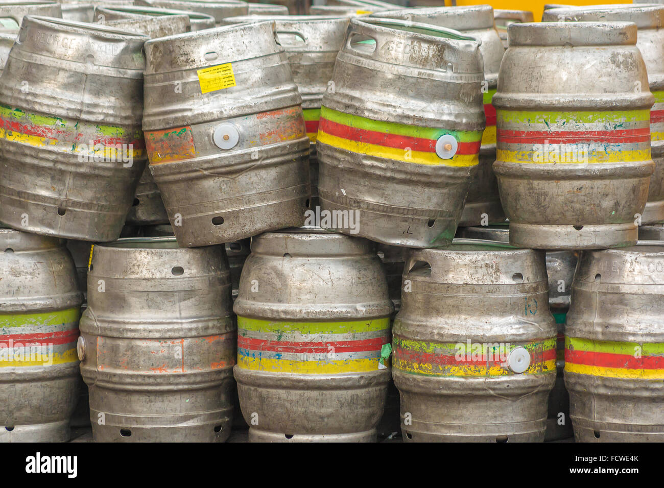Oakham, Rutland, UK. 25th January 2016. Empty beer barrels outside the Grainstore public house and microbrewery - Stock Image