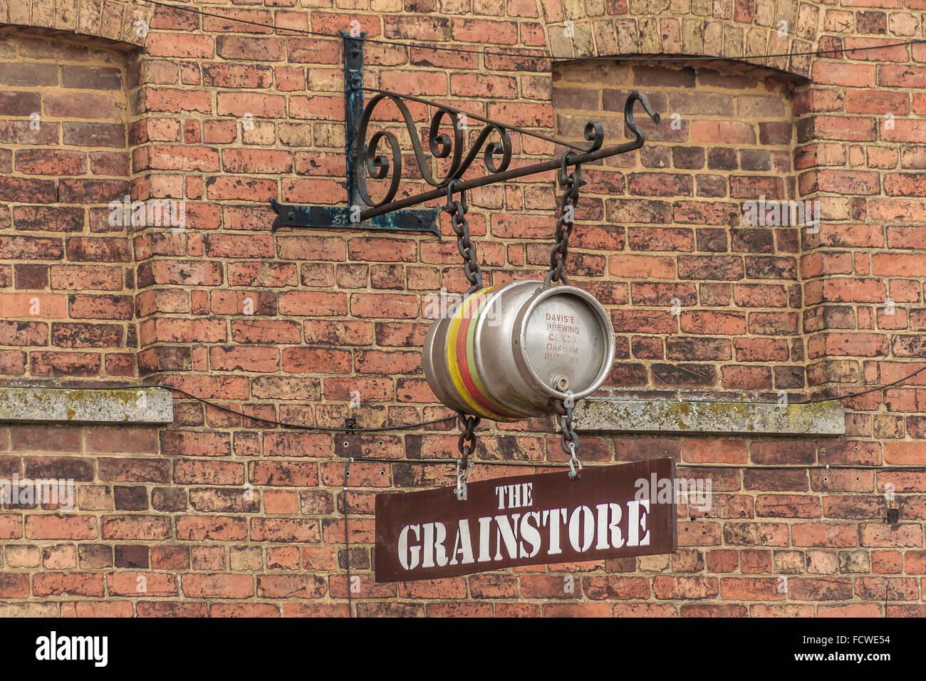 Oakham, Rutland, UK. 25th January 2016. The sign outside the Grainstore pub and microbrewery in Oakham, Rutland, - Stock Image