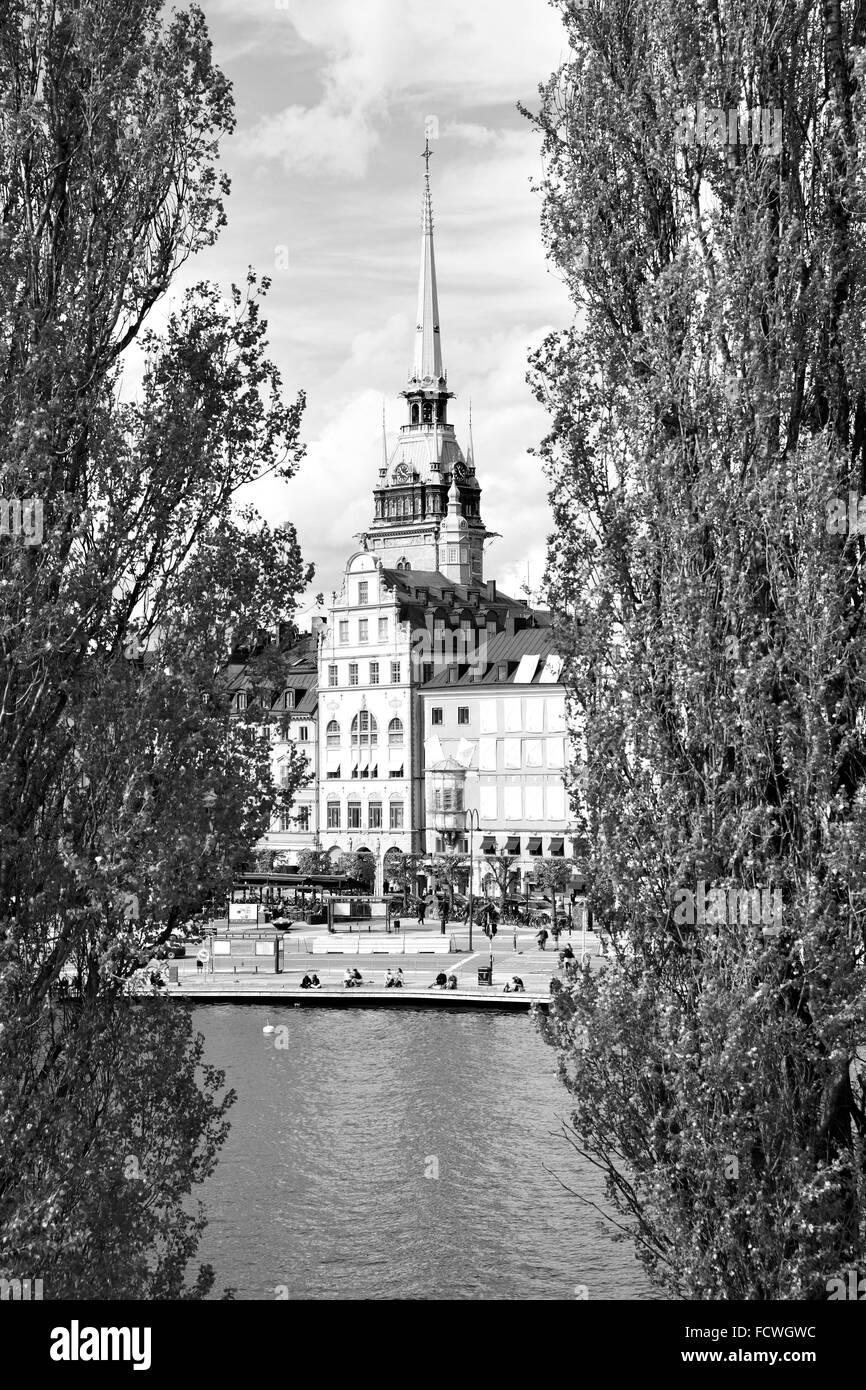 View of Old Town (Gamla Stan) in Stockholm. Black and white image - Stock Image