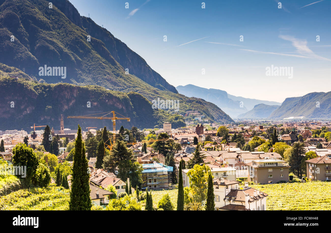 View over the city of Bolzano (Sout Tyrol, Italy) - Stock Image
