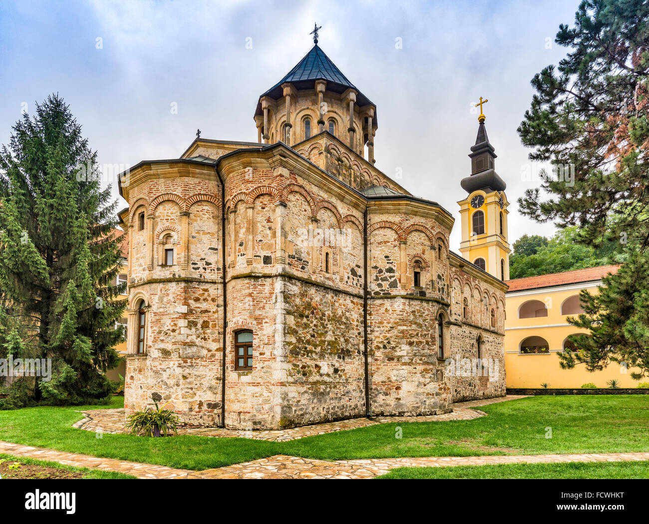 Church, 16th century, Byzantine style, Novo Hopovo Monastery, Serbian Orthodox, Fruska Gora Monasteries, Vojvodina, - Stock Image