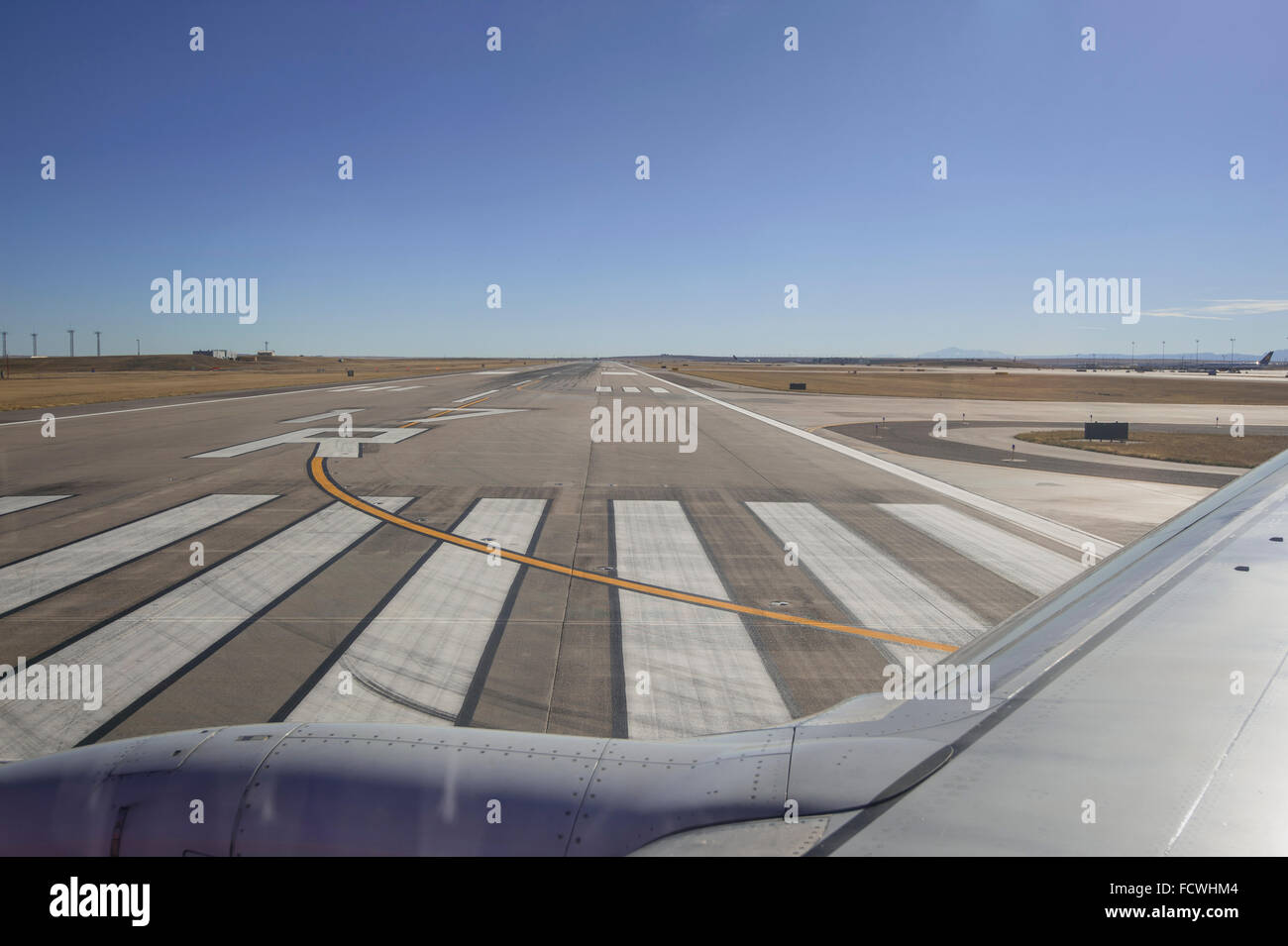 Airport Runway With Airplane Wing, Denver, USA - Stock Image