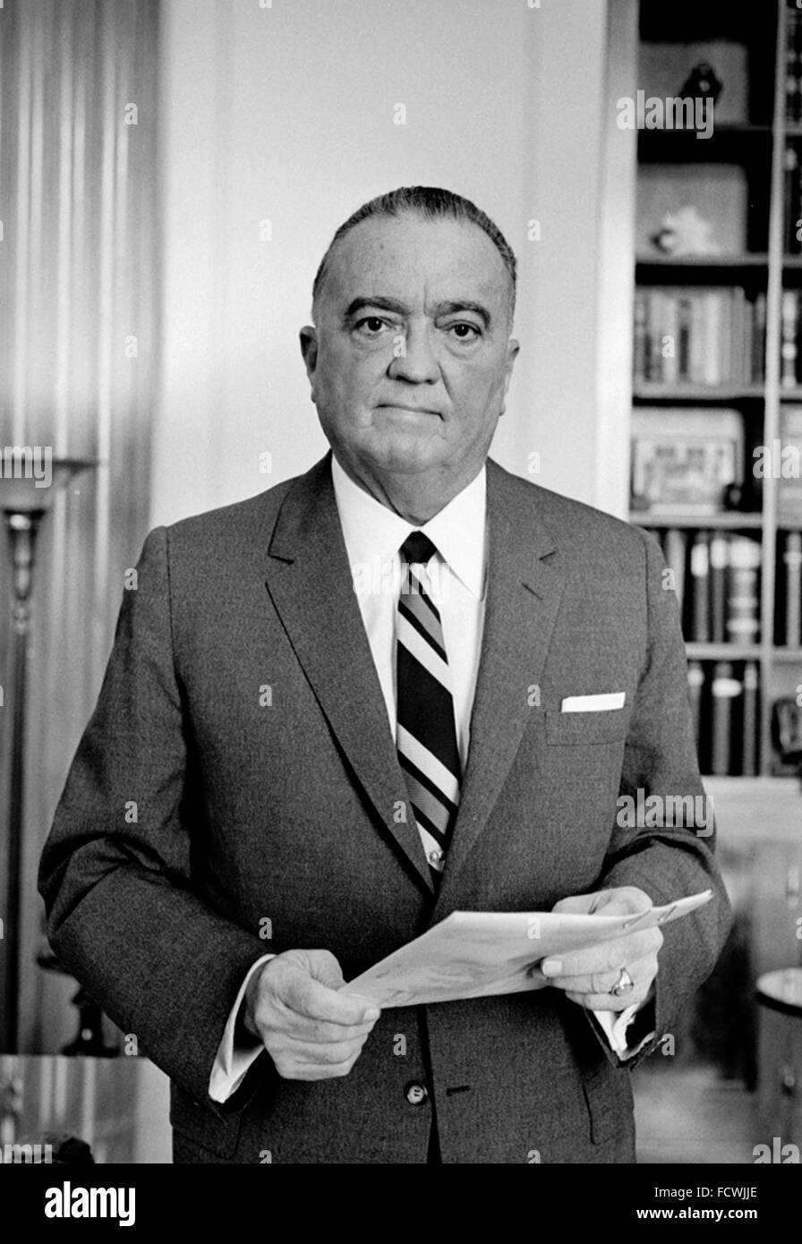 J Edgar Hoover. Portrait of the first Director of the Federal Bureau of Investigation (FBI) in the USA, Sept 1961 - Stock Image