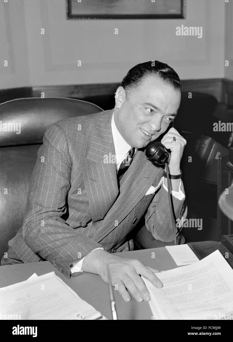 J Edgar Hoover. Portrait of  the first Director of the Federal Bureau of Investigation (FBI) in the USA, April 1940 - Stock Image
