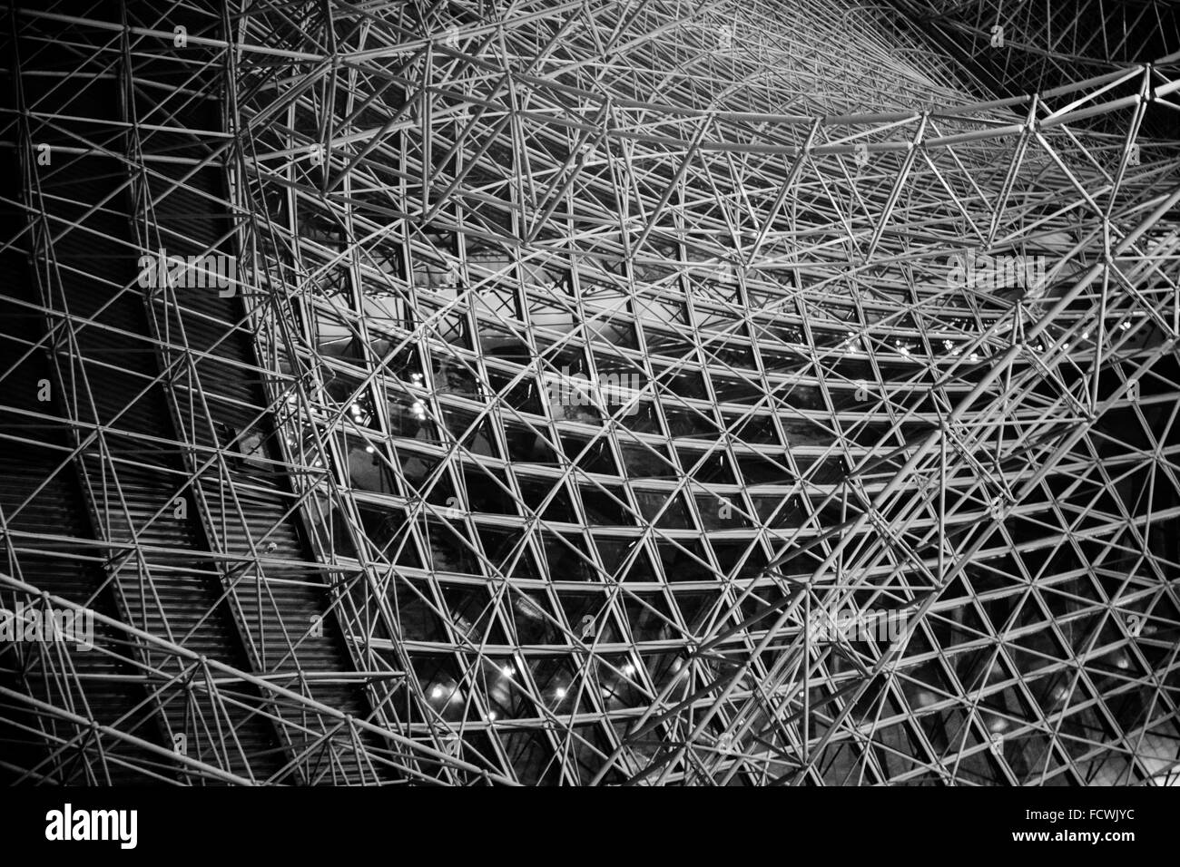 Overhead View Of Metal Frame Structure Of Building - Stock Image