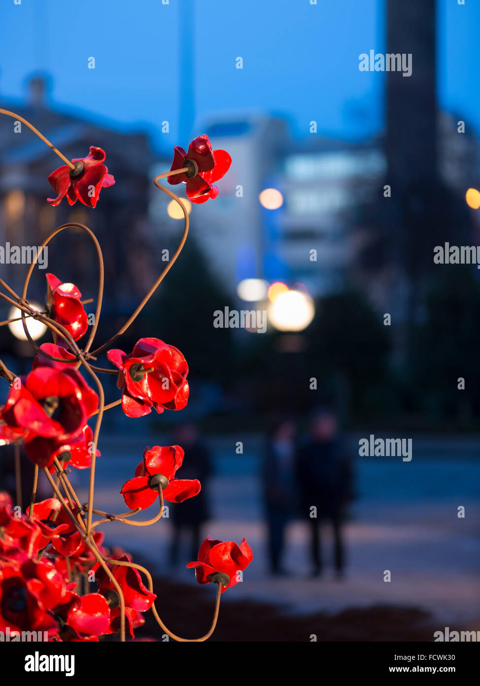 Weeping Window poppy installation at St.George's Hall, Liverpool - Stock Image