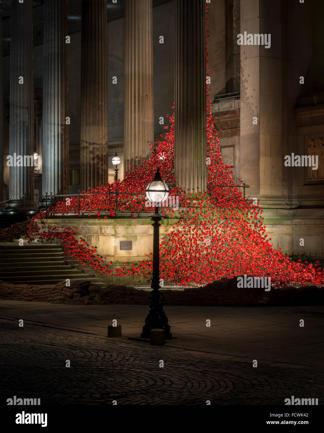 Weeping Window poppy installation at St.George's Hall,Liverpool - Stock Image