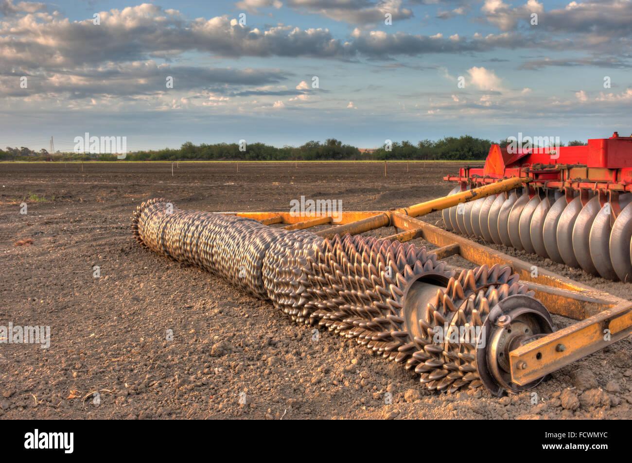 Disc harrow attachment for farm tractor - Stock Image