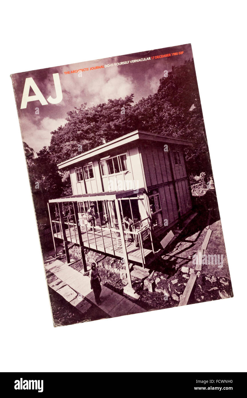 A copy of the Architects' Journal from December 1980.  Cover shows self-build houses by Walter Segal. - Stock Image