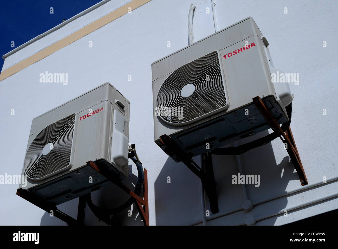 Air conditioning units on a house in the Kingdom of Bahrain - Stock Image