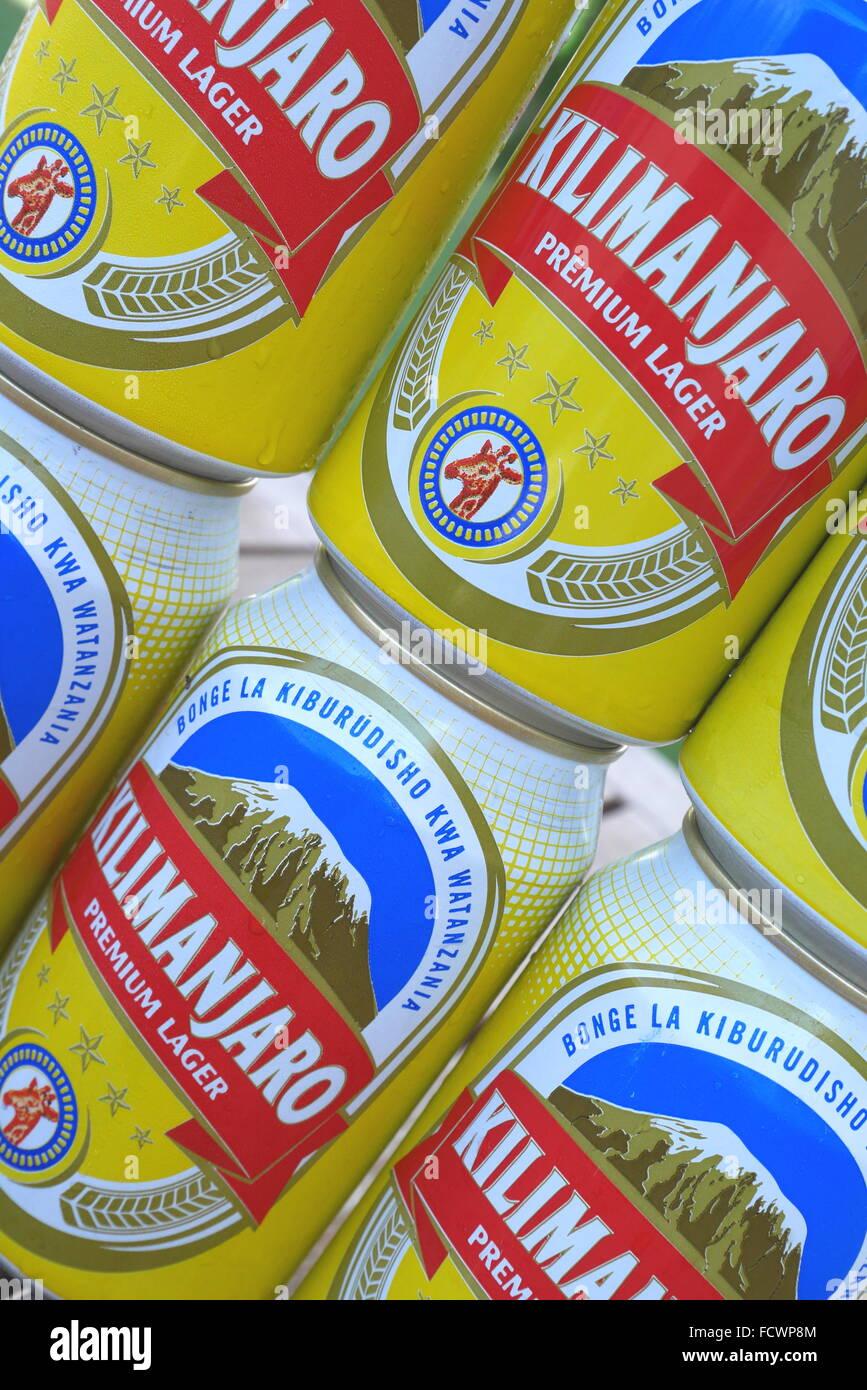 Six cans of Tanzanian beer - Kilimanjaro. - Stock Image