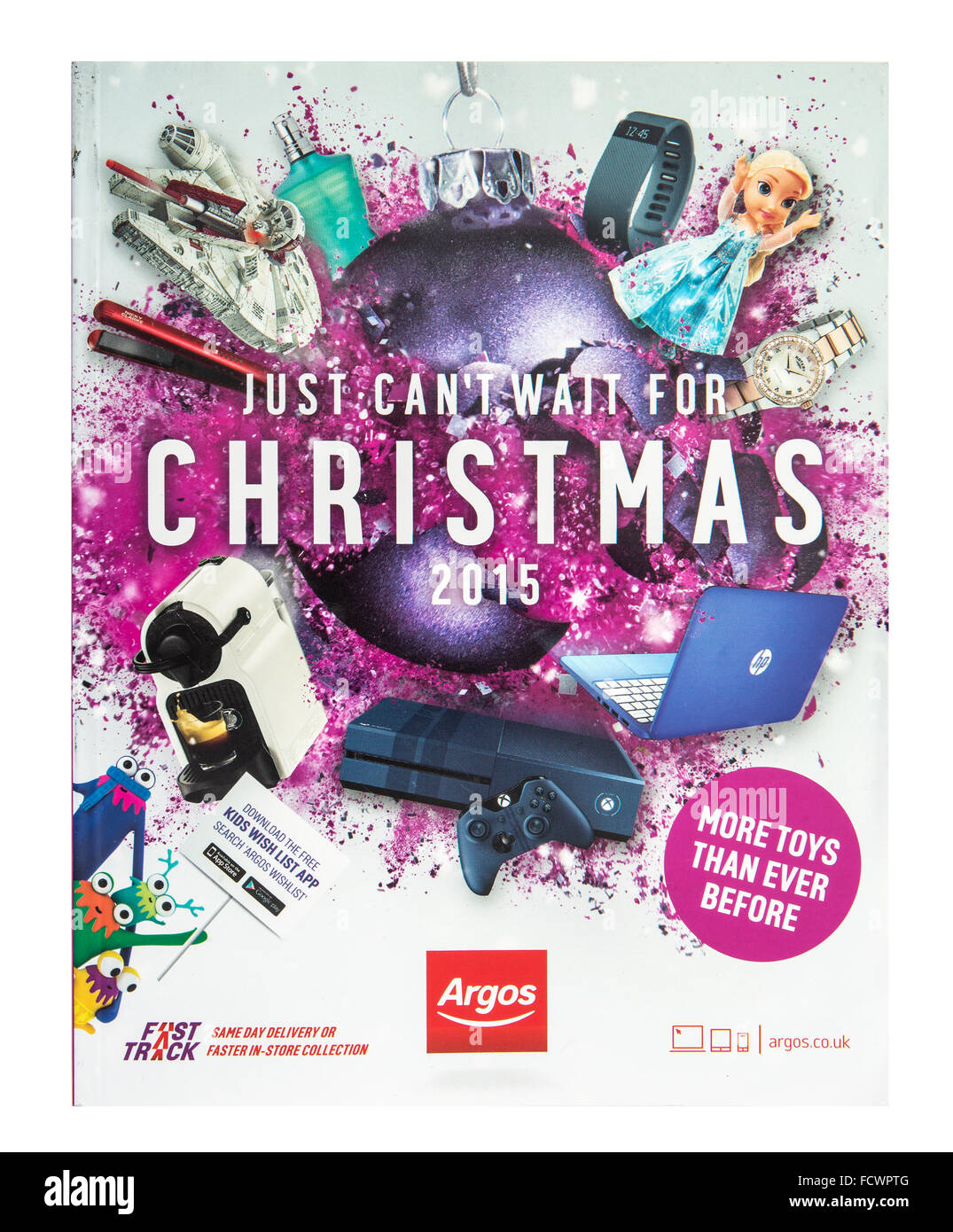 Argos Just Cant Wait For Christmas 2015 Catalogue on a white Background - Stock Image