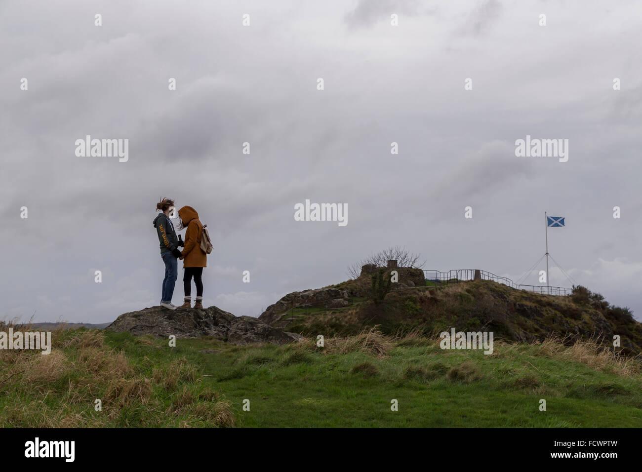 weather conditions Dumbarton, Dumbarton castle, 29/12/2015 - Stock Image