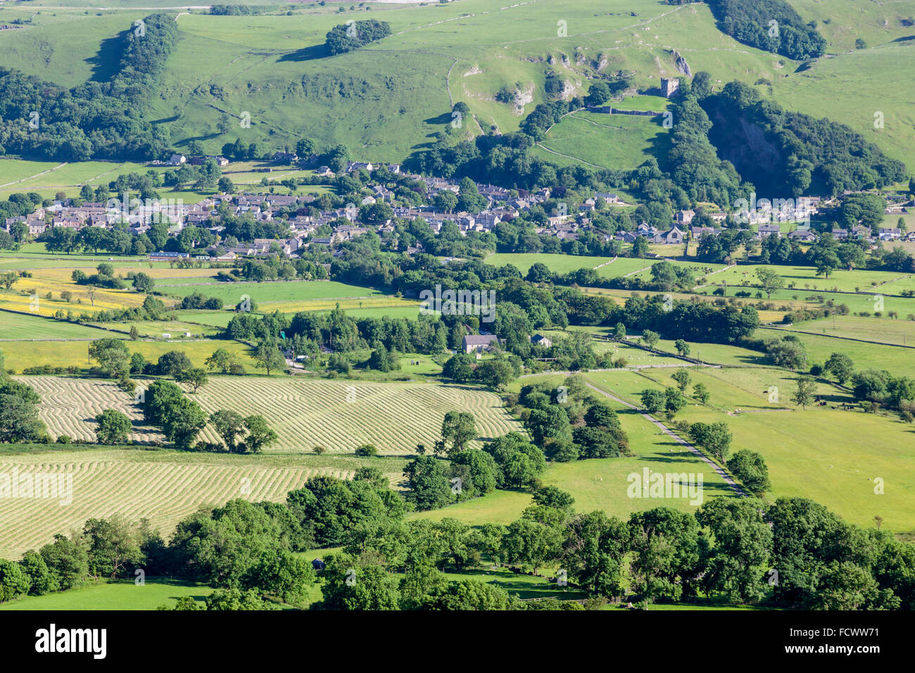 Looking across Hope Valley with Castleton in the distance, Derbyshire, Peak District, England, UK - Stock Image