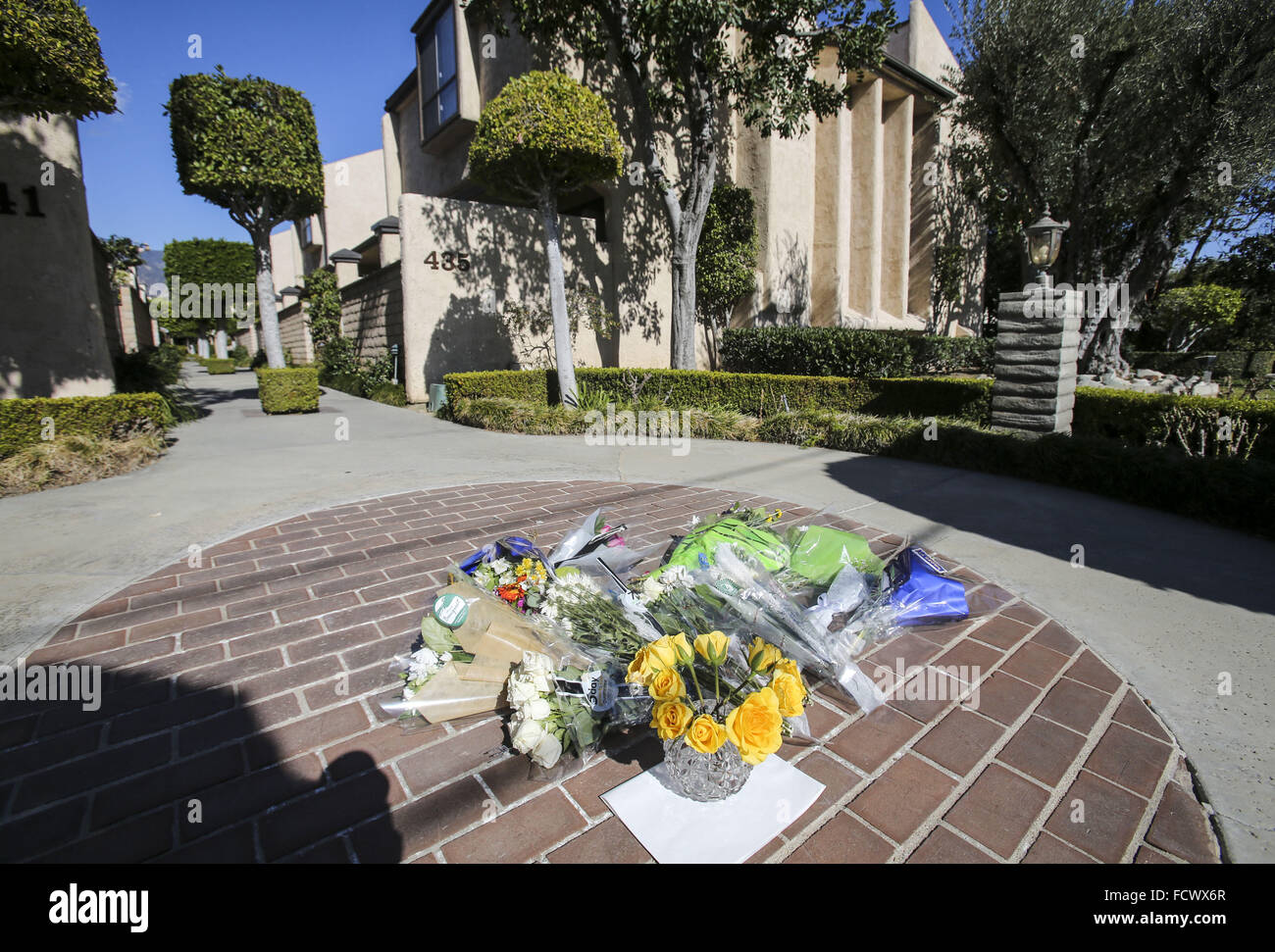Los Angeles, California, USA. 25th Jan, 2016. Flowers are placed at a memorial outside the scene of two brothers - Stock Image